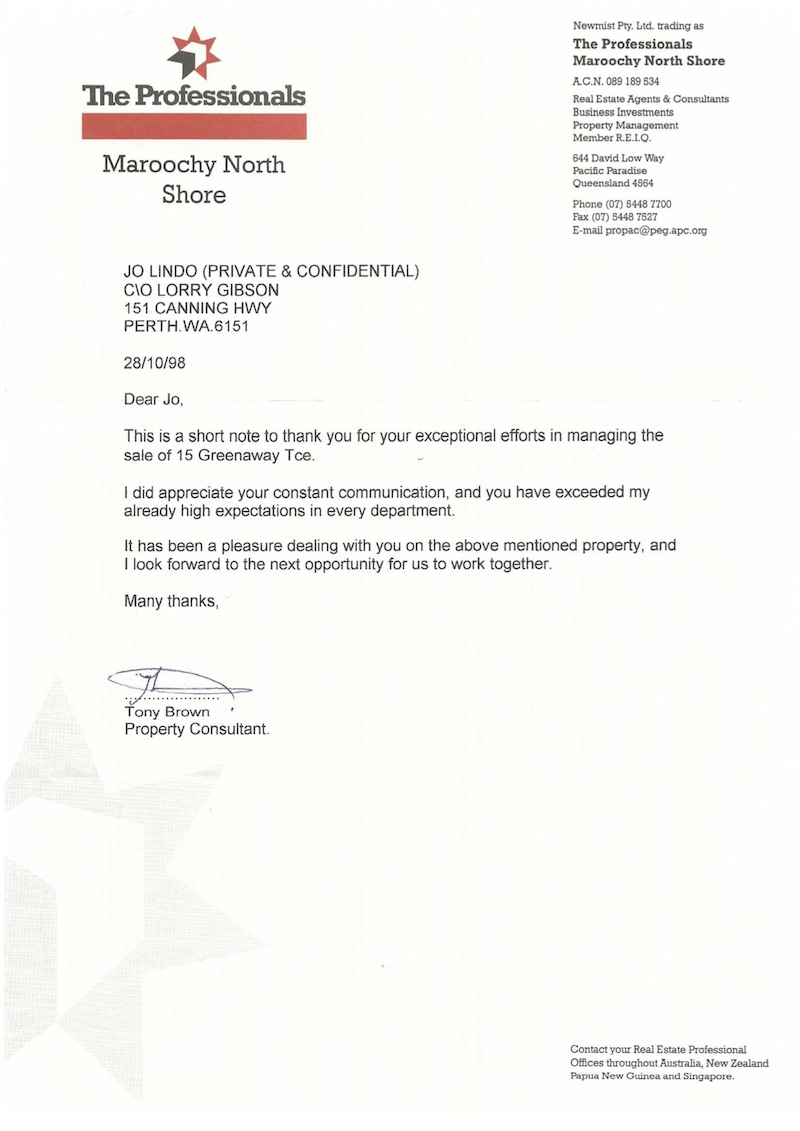 Testimonial Tony Brown - Property Consultant